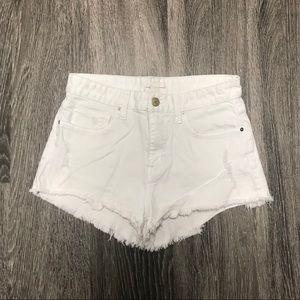 H&M White denim distressed frayed hem shorts